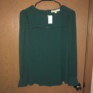 LOFT dark green blouse
